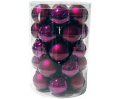 Brauns Heitmann 86666 - Bolas para árbol de Navidad, tamaño XL, cristal, 6 cm, 30 unidades, acabado mate y brillante, color morado