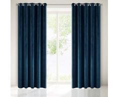 Eurofirany Velvet Terciopelo, Color Azul Marino 10 Ojales, 1 Unidad. Elegante Cortina Lisa para salón o Dormitorio, poliéster, 140x250cm
