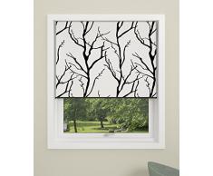 Estor Debel Enrollable Opaco, Modelo Tree, 100 x 175cm, 100% poliéster, con Barra Inferior de Aluminio, Color Negro y Gris, Tela, Negro/Blanco, 60 x 175 cm
