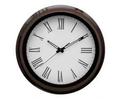 Premier Housewares - Reloj de pared (38 x 38 x 6 cm), color caoba