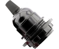 Art Deco Emporium – Soporte para bombilla E27 negro período forma lámpara colgante con pantalla anillo