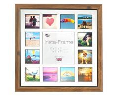 Inov8 16 x 40,64 cm Insta-Frame Marco para Instagram 13/de estampado a cuadros de fotos con paspartú blanco y negro con borde, 2 unidades, madera de teca
