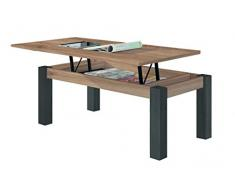 KR Decor MZ444 Mesa de Centro elevable Rectangular, manufacturada, Roble/Negro Madera, 100x50x42.2 cm