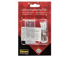 Idena Cadena 10 LED de Color Blanco cálido, Funciona con Pilas, para Fiestas, Navidad, decoración, Boda, luz de Ambiente, Aprox. 1,1 m, transparente