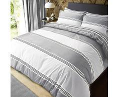Sleepdown Banded Stripe Grey Juego de Funda de edredón tamaño King, algodón, Gris, Matrimonio