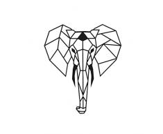 Homemania Decoración de Pared en Metal Elephant Negro–Art, Casa, Déco–para Estar, Escritorio, Pared