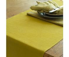 Linenme Lara - Camino de mesa de lino, color verde amarillento, 50 x 140 cm