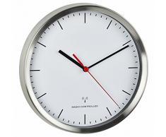TFA Dostmann de radio reloj de pared, aluminio, color blanco, 30 x 4 x 30 cm