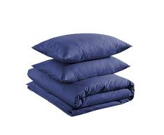 AmazonBasics - Juego de funda nórdica ligera de algodón - 200 x 200 cm / 50 x 80 cm, Azul marino