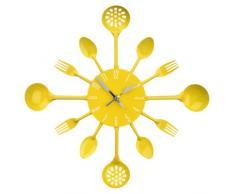 Premier Housewares - Reloj de pared, diseño de cubiertos, color amarillo