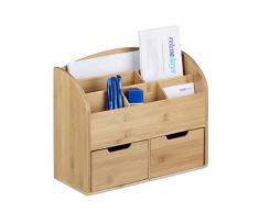Relaxdays, 25.5 x 33 x 13.5 cm, Natural Organizador de Escritorio Hecho de bambú, deposito para lapiceros Cartas, 6 casilleros y 2 cajones extraíbles, Color