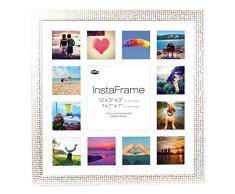 Inov8 16 x 40,64 cm Insta-Frame Marco para Instagram 13/DE Estampado a Cuadros de Fotos con paspartú Blanco y Blanco con Borde, Mosaic Plateado