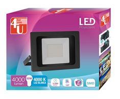 4U LED Proyector - Foco de Exterior de Potencia 50 W, Resistente al Agua con Protección IP65, Luz Blanca 4000K, Color Negro