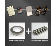 Magnet Expert first4magnets instantánea tablón de anuncios Tira Pack con 5 m de Tira de ferrosos y 50 Imán de Alta Potencia, Multicolor