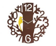 Karlsson KA5393BR - Reloj de pared, diseño pájaro carpintero, color marrón
