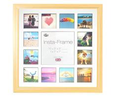 Inov8 16 x 40,64 cm Insta-Frame Marco para Instagram 13/de Estampado a Cuadros de Fotos con paspartú Blanco y Negro con Borde, Madera de Haya 53