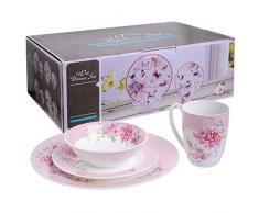 London Boutique Vajilla DE 16 Piezas, Diseño de Pájaro de Porcelana Vintage con Flores en Caja de Regalo (Rosa)