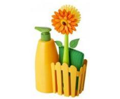 VIGAR Flower Power Set Fregadero con Cepillo, Esponja y dosificador para jabón, Material: Goma,PVC Friendly, ABS & Esponja: 80PercentPet + 20PercentPolyester, Amarillo, Dimensiones: 14 x 7 x 26,5 cm