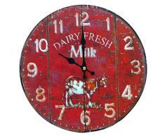 Better & Best 2671100 - Reloj de pared con diseño Dairy Fresh Milk con dibujo de vaca, color rojo
