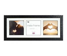 Inov8 21 x 20,32 cm Insta-Frame Marco para Instagram 3/Fotos con diseño de Cuadros de Blanco y Blanco con Borde, Mosaic Negro