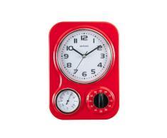 Visua Nia - Reloj metálico de cocina con temporizador mecánico y termómetro, diseño retro