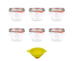 Viva Haushaltswaren - 6 tarros de Cristal Redondos Forma 80 ml con Pinzas, Anillas y Embudo