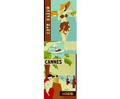 Plage Recuerdos De Vacaciones Vintage Vinilo Adhesivo para la Cocina, Vinilo, Multicolor, 60x3x180 cm