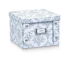 Zeller 17971 Caja de almacenaje de cartón Blanco (Vintage White) 21.5 x 20.5 x 15 cm