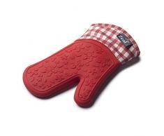 Zeal Gingham Guante de Silicona para Horno, de Alto Rendimiento, Incluye algodón, algodón, Rojo, 29 x 19 x 2 cm