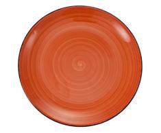 VILLA DESTE Baita Juego de 6 Platos Planos de Gres Esmaltado Pintado a Mano, en Naranja