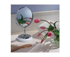 InterDesign - York - Espejo redondo; para mesada del tocador del cuarto de baño - Blanco/cromado