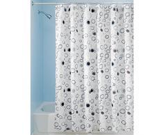 InterDesign Doodle Cortina de ducha | Cortinas estampadas para bañera o plato de ducha | 183 x 183 cm | Alegre cortina de baño con dibujo de círculos | Poliéster negro/marrón