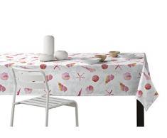 Martina Home Caracolas Mantel Resinado, Diseño Moderno, Tela, Fucsia, 140 x 180 cm