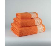 Tu Casa 400 G Juego de Toallas Baño, Algodón 100%, Naranja, 30 x 50cm, 50 x 90cm, 100 x 140 cm