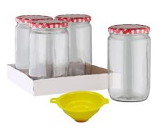 Viva Haushaltswaren – Tarros de Cristal 4 720 ml/Conservas con Rosca, Incluye un Entrada de Embudo