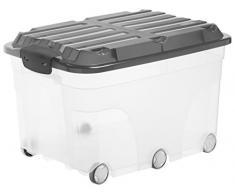 Rotho Roller - Caja de Almacenamiento con 6 Ruedas, plástico, Antracita, Roller 6 (57 L)