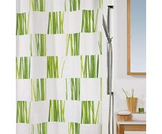 Spirella 180 x 200, Verde colección Seagrass, Cortina de Ducha Textil, 100% Polyester