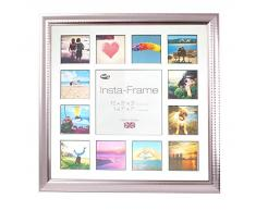 Inov8 16 x 40,64 cm Insta-Frame Marco para Instagram 13/de estampado a cuadros de fotos con paspartú blanco y negro con borde, Ripple plateado