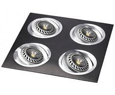 CristalRecord Kardan Helium - Foco empotrable, aluminio, 4 luces AR111, basculante 30°, color negro
