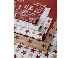 B & P Italia surtido de 10Â hojas 70Â x 100Â cm para paquetes de regalo, Color Rojo, Papel de alta calidad de polipropileno