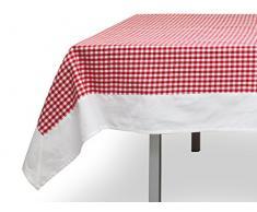 Mantel cuadrado de algodón 180x180 cm VICHY rojo, jacquard