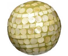 Moycor 75703 Bola Decorativa Nácar Natural y Dorado 10x10x10 cm