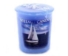 Village Candle Vela Votiva con Aroma Brisa de Verano, Cera, Azul, 4.8x5x5.5 cm