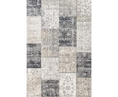 LIFA LIVING Alfombra Vintage de Retazos, Tapetes de Cuadros, Tapete Patchwork Moderno para el Salón y el Comedor, Tamaños (Gris Oscuro, 80 x 150 cm)