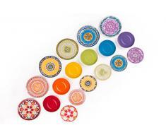 Excelsa ETNO Chic - Vajilla de Porcelana, Multicolor, 18 Unidades