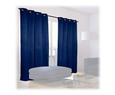 Relaxdays Cortinas Opacas con Ojales, Pack de 2, Modernas, Dormitorio o Salón, Poliéster, 245 x 135 cm, Azul Marino