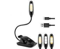 Lighting EVER Lámpara de Pinza Recargable para Lectura, 5 LEDs