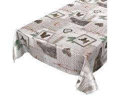 ANRO Hule Mantel Hule Lavable Mantel navideño Fijo 140x 140cm, Borde de Corte