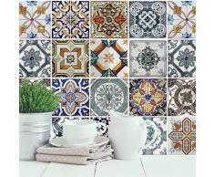 Walplus mediterráneo azulejos autoadhesivo extraíble de pared pegatinas murales nursery oficina decoración del hogar, pack de 4