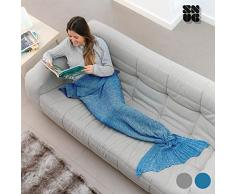 Snug Sirena One Mermaid Manta Acrílico y Nailon, Gris 160x90x1 cm